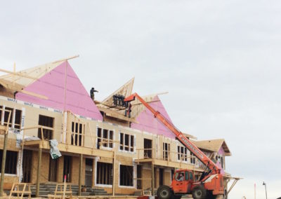 lifting roof trusses on a multi-family build, Calgary