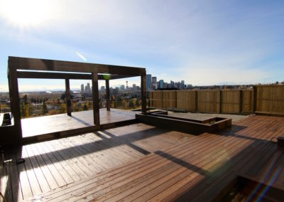 custom pergola with calgary downtown view